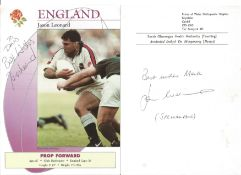 Rugby Collection. Assortment of signed photos. Signatures include Martin Johnson, Tim Rodber, Will