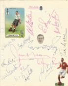 Vintage England FC signed notebook page. Signed by 15. Includes Franklin, Reggie Smith, Frank
