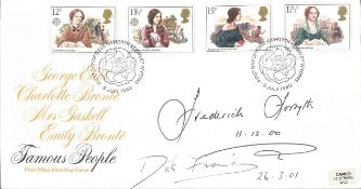 Frederick Forsyth and Dick Francis signed Famous People FDC. All autographs come with a