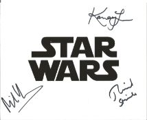 Yerolemou, Stride and Lau signed Star Wars logo 10x8 photo. All autographs come with a Certificate