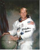 Space Astronaut Al Worden signed 10x8 colour spacesuit photo. All autographs come with a Certificate