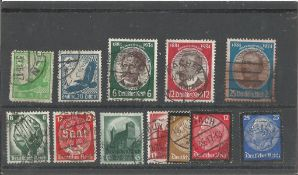 German stamp collection 1 stock card 12 stamps back to 1934 catalogue value £55. We combine