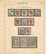German Stamp collection 8 loose pages 74 stamps French Zone dating back to 1946 mainly mint. We