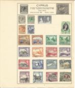 British Commonwealth Stamp Collection 7 loose album leaves countries include Cyprus, Dominica,