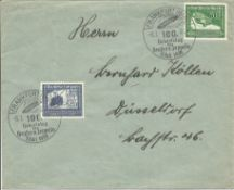German vintage envelope double post mark commemorating centenary of the birth of Count Zeppelin 8/