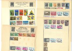 British Commonwealth stamp collection 9 loose album pages countries include Leeward Islands,