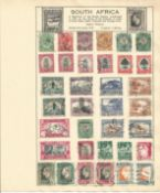 British Commonwealth stamp collection 6 loose album leaves countries include South Africa and