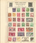 British Commonwealth stamp collection 6 loose album leaves countries include New Zealand and