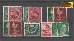 German stamp collection 1 stock card 12 stamps dated 1944. We combine postage on multiple winning