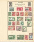 British Commonwealth stamp collection 7 loose album leaves countries include Jamaica, Kenya, Uganda,