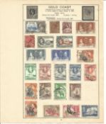 British Commonwealth Stamp collection 8 album leaves includes Gold Coast, Guernsey, Jersey, Isle