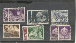 German stamp collection 1 stock card 10 stamps dated 1941/1942 catalogue value £39. We combine