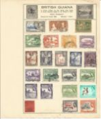 British Commonwealth Stamp collection 8 loose album leaves countries include Barbados, Basutoland,