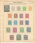 German Allied Military Post stamp collection 3 pages of British and American 35 stamps mostly mint