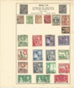 British Commonwealth stamp collection 5 loose album leaves includes countries such as Malta,