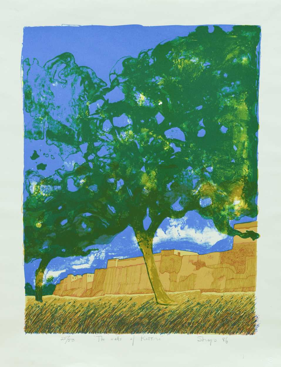 Lot 5 - T Sharpe The Walls of Katsina signed, titled and numbered 25/50; dated 1986 screenprint 64.5 x 50cm,