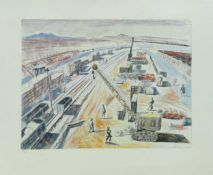 "Edward Bawden CBE RA, British 1903-1989- ""Aid to Russia; The Rail-Head at Khanagin, Iraq"";"