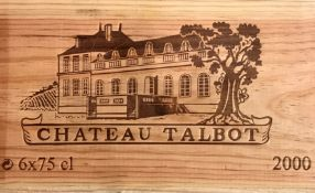 Chateau Talbot, St Julien 4eme Cru 2000, 6 bottlesCondition report: removed from storage at the Wine