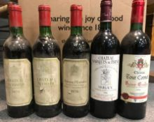 Bordeaux mixed case. Chateau Marquis de Terme 1996, Chateau Teyssier 1970 (6), Chateau Tour