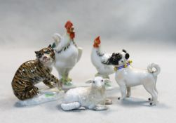 A collection of Meissen miniature animals,