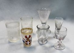 An 18th century drinking glass, possibly Russian,
