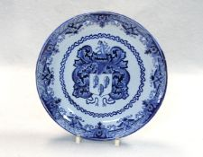 An 18th century Delft blue and white armorial plate,