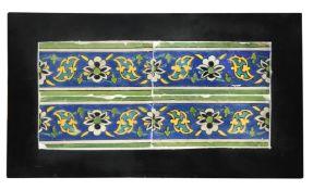 A 17th century Islamic Persian Safavid border tiles panel,