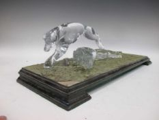 A pair of modern Daum glass racing greyhounds, signed and numbered 106/750, mounted to an