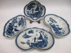 Items of Caughley blue and white porcelain, to include two dishes, a shell shaped dish and a lozenge