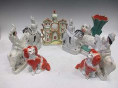A pair of Staffordshire flatback figures king of Prussia and Bismarck together with another pair