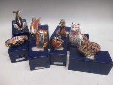 Royal Crown Derby paperweights to include Golden Carp, Chaffinch, Dolphin, Dragon, Hamster,