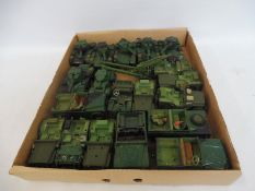 A box of assorted military diecast to include tanks, Willy's Jeeps etc.