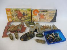 A tray of Pontoons with figures and Seamen, also two boxed Airfix Military Strongpoints (unchecked).