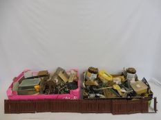 A quantity of accessories, buildings etc. various makers (two boxes to include paints, paint brushes