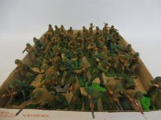 A quantity of Britains Deetail, mostly American, with British Infantry, overpainted to a good