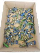 A box full of Britains Deetail, all painted and also Marx figures including RAF, soldiers etc.