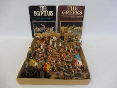 A large quantity of Atlantic plastic Greek figures including chariots, foot soldiers, slaves etc.