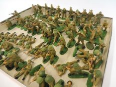 A tray of mainly Airfix plastic soldiers, painted to a good standard.