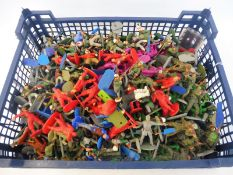 A large quantity of mainly painted soldiers, different eras to include Britains Deetail etc.