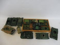 Two trays of overpainted plastic vehicles, various makers.