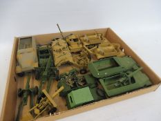 A tray of assorted Dinky Britains diecast, mainly overpainted to include German, field artillery and