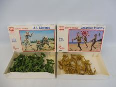 Two boxed 1/32 scale Glen Coe Japanese Infantry, USA Infantry (unchecked).