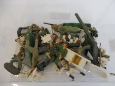 A small box of painted larger scale military figures to include Alpine troops.