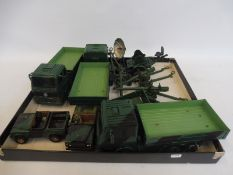 A tray of military heavy vehicles, artillery, Jeeps etc. Dinky and various other makers.