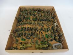 A quantity of German Alpine Troops with Britains mortar sets, all overpainted to a good standard.