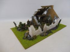 A well painted diorama British Paratroopers WWII bomb-damaged buildings.