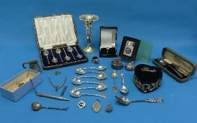 A quantity of Silver and Silver Plate, including a contemporary novelty pin cushion, in the form
