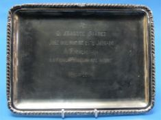A Continental 800 silver Rectangular Tray, with gadrooned rim, the centre with engraved Spanish
