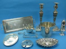 A quantity of Silver Plate, including a pair of cast candlesticks, 12in (30cm) high, an ice