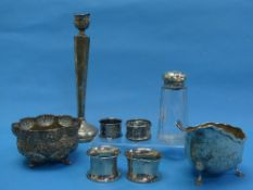 A quantity of Damaged / Scrap Silver, including capstan inkwell, four napkin rings, sauce boat,